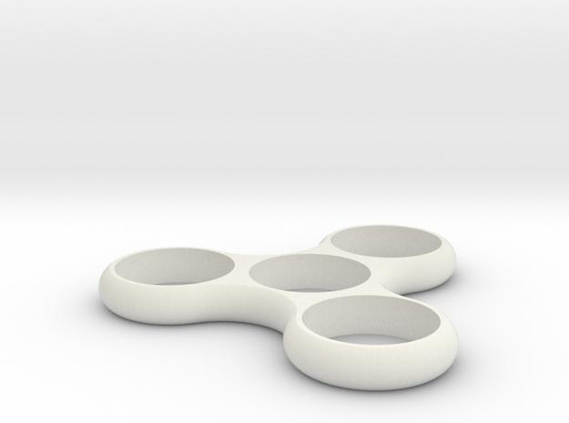Tri Fidget Spinner in White Natural Versatile Plastic