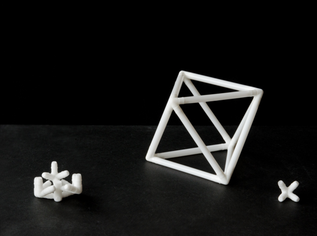Octahedron Milk Straw Connectors in White Natural Versatile Plastic
