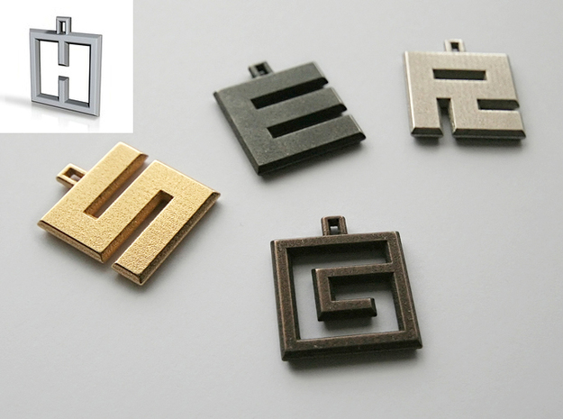 ABC Pendant - H Type - Wire - 24x24x3 mm 3d printed