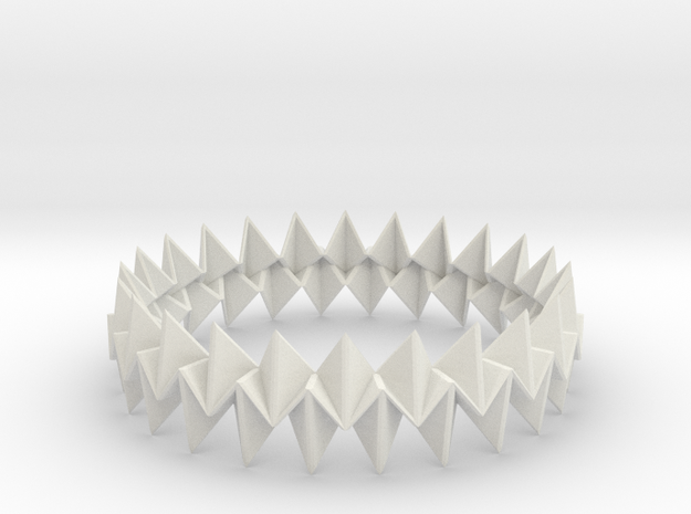 Small Bracelet WB - Origami Inspired Design   in White Natural Versatile Plastic