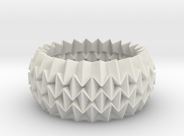 Bracelet WB - Origami Inspired Design   in White Natural Versatile Plastic