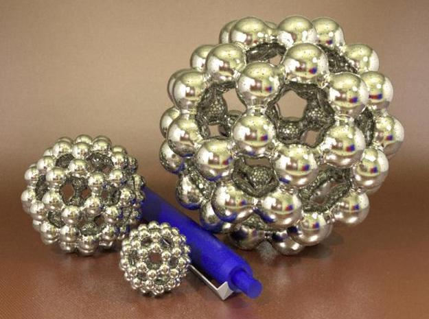 C60 - Buckyball - L - Steel 3d printed Three sizes, Steel, Rendered with Luxrender
