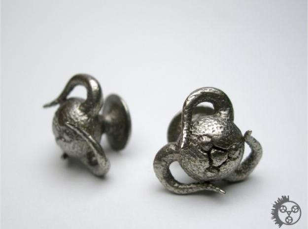 Tentacle Creature Cufflinks in Polished Bronzed Silver Steel