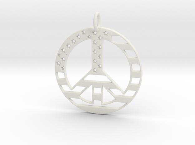 American USA Flag Peace Symbol Pendant Charm in White Natural Versatile Plastic