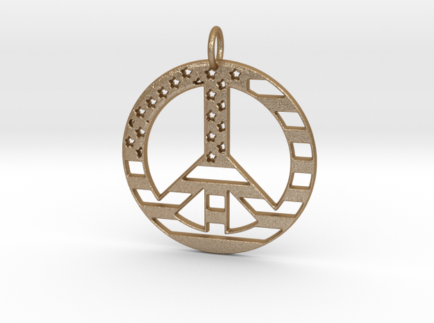 American USA Flag Peace Symbol Pendant Charm in Matte Gold Steel