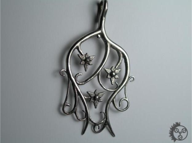 Tendril Pendant in Polished Bronzed Silver Steel