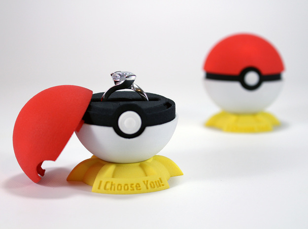 "Pokeball Pokemon Go ""Ring Box"" (PLASTIC TOP COVER) in Red Strong & Flexible Polished"