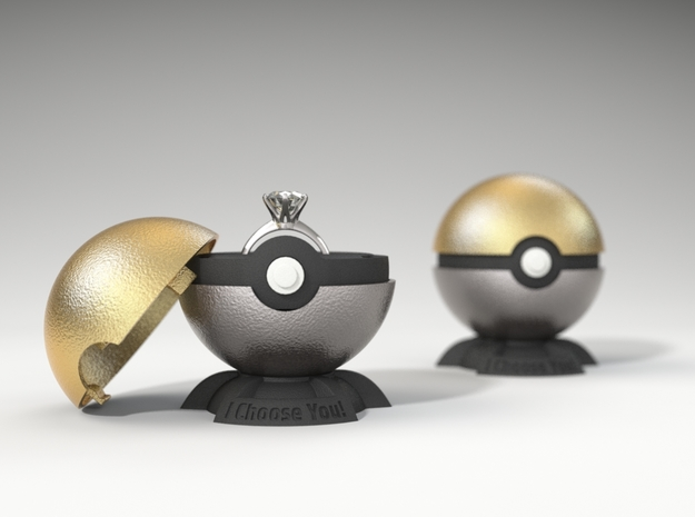 "Pokeball Pokemon Go ""Ring Box"" METALLIC TOP COVER in Polished Gold Steel"