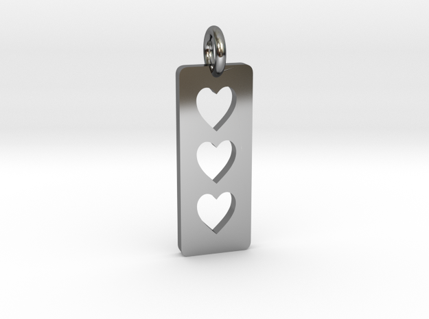 Triple heart Pendant - Cutout Collection in Fine Detail Polished Silver