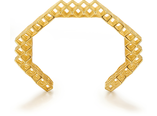 Lattice Bangle in 18k Gold Plated