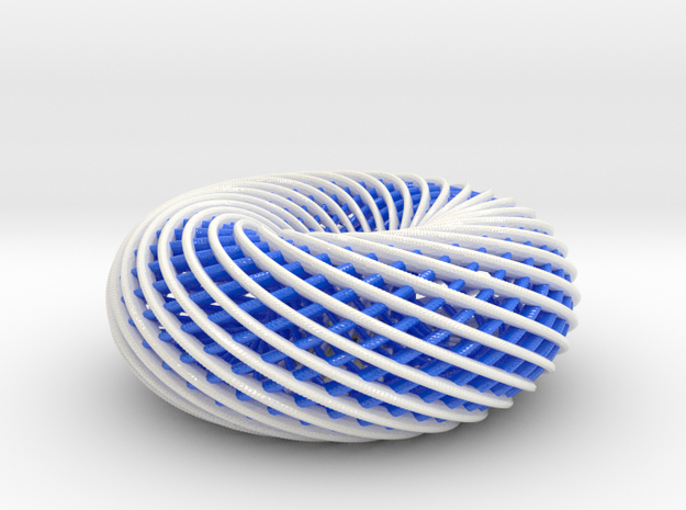BlueWhite Spiral Torus-104mm in Coated Full Color Sandstone