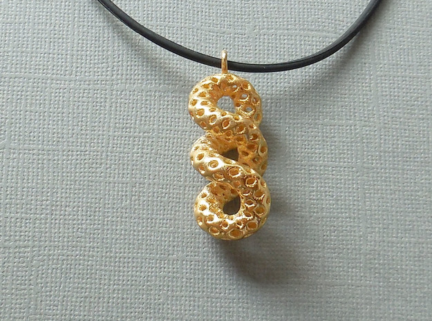Cruller - A Pendant in Metal in Polished Gold Steel