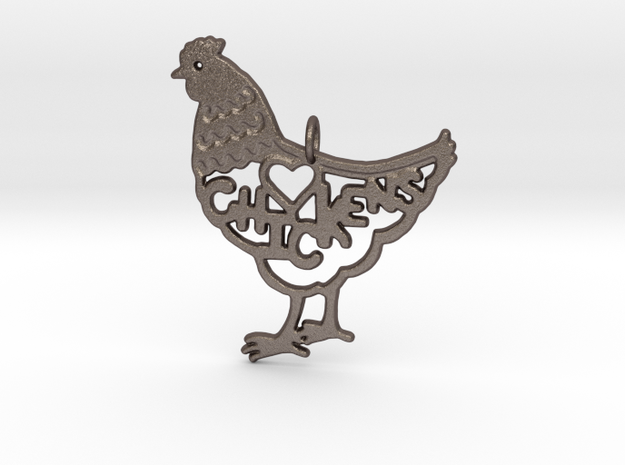 CHICKENS KEYCHAIN in Polished Bronzed Silver Steel