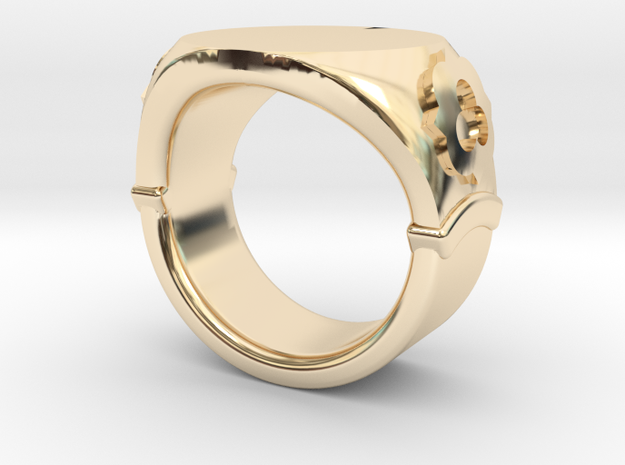 Seal Ring Trefoil - embossed in 14k Gold Plated Brass: 5.5 / 50.25