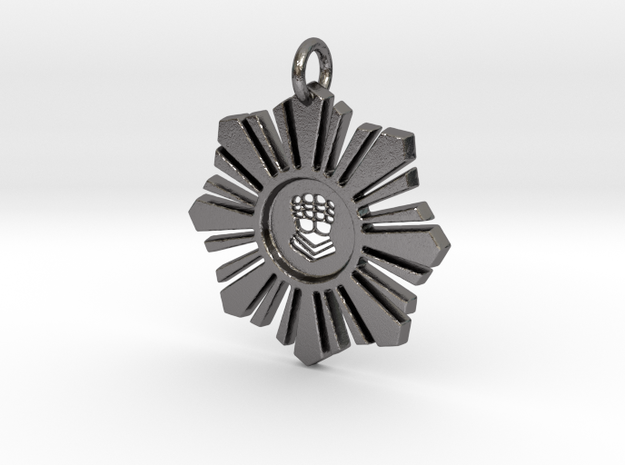 Silver Hand Medallion in Polished Nickel Steel