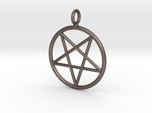 Overturned pentagram necklance (simple) in Polished Bronzed Silver Steel