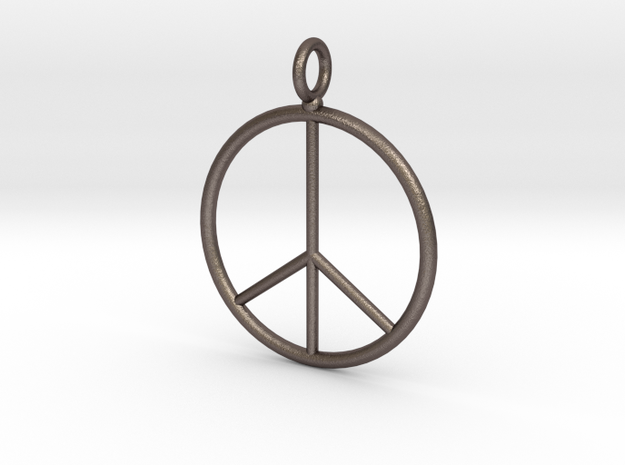 Peace symbol necklace in Polished Bronzed Silver Steel