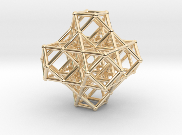 7 VE cluster, 8 Octahedron, Cellular Universe in 14k Gold Plated Brass