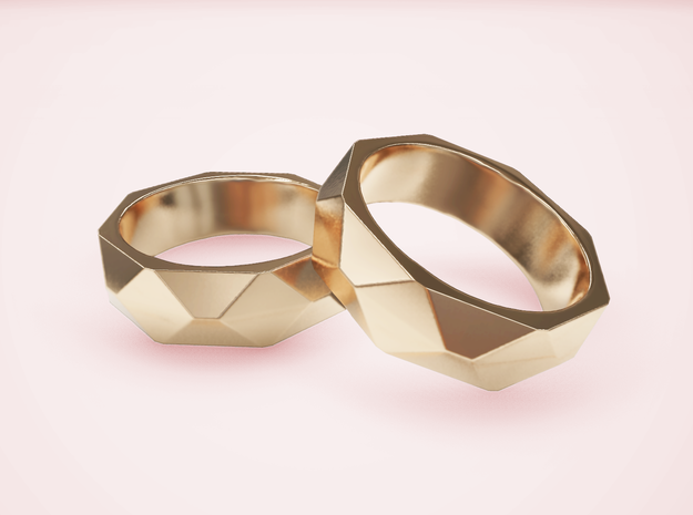 Geometric Ring in Polished Brass: 5 / 49