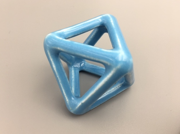 Porcelain Octahedron Wireframe in Gloss Blue Porcelain