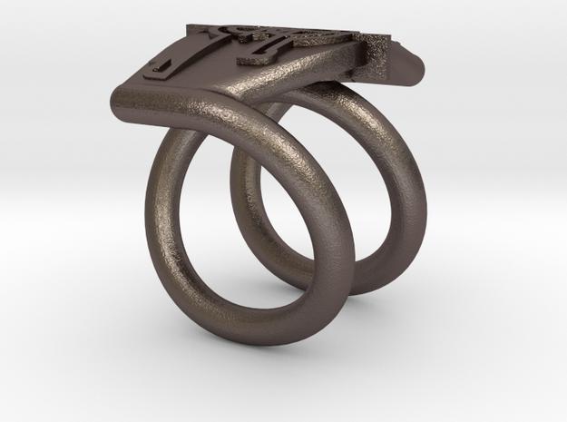 Bague symbole in Polished Bronzed Silver Steel