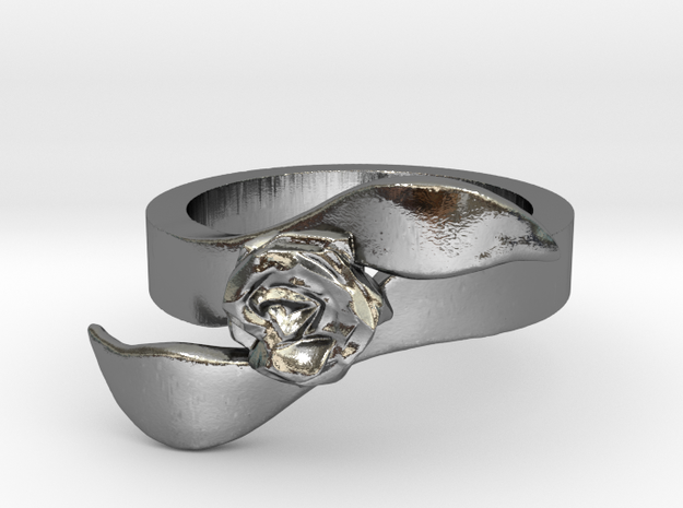 Rose Ring - Size 7 in Polished Silver: 7 / 54