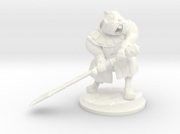 Gregario the Half-Hamster warrior in White Processed Versatile Plastic