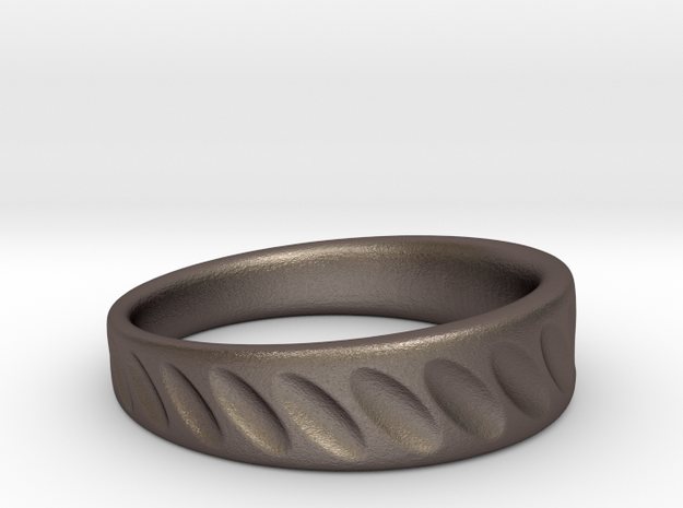 Ring Diagonal Scallops in Polished Bronzed Silver Steel