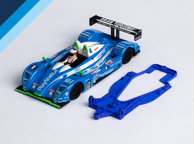 1/32 Avant Slot Pescarolo Chassis for NSR pod in Blue Processed Versatile Plastic