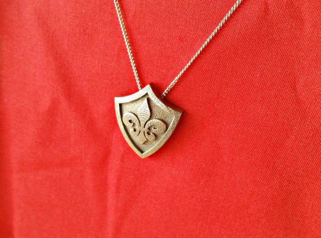 Fleur De Lys Shield Pendant in Polished Nickel Steel