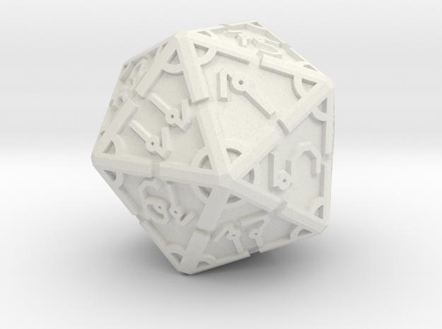 Vertex RPG D20 55mm in White Natural Versatile Plastic