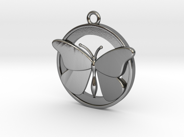 Butterfly Pendant 3 in Polished Silver