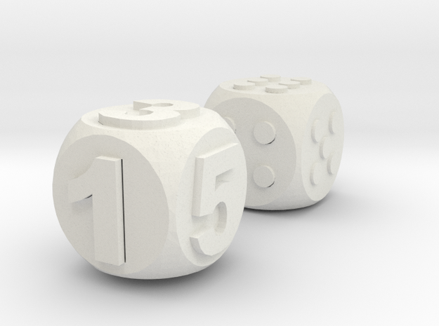 Assistive Dice - Luna in White Strong & Flexible: Medium