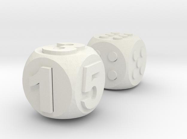 Assistive Dice - Luna in White Natural Versatile Plastic: Medium