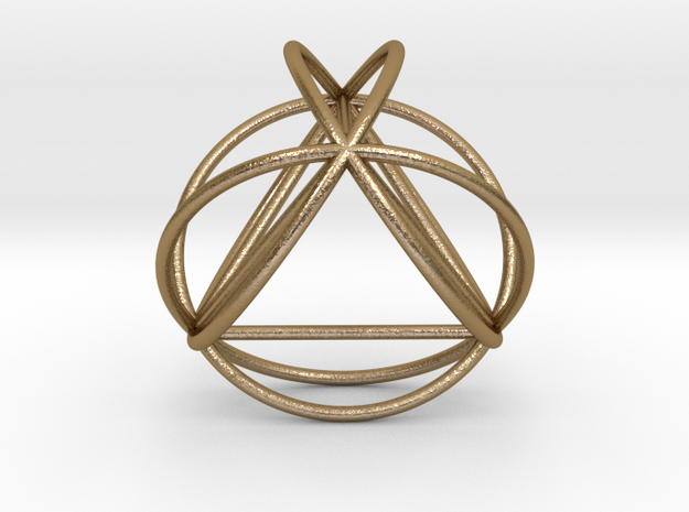"TetraSphere w/nested Tetrahedron 1.8"" (no bale) in Polished Gold Steel"