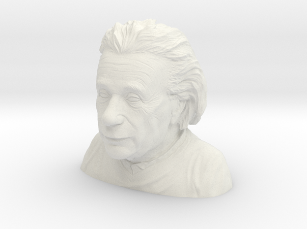 Einstein Bust 4in-6in Sans Mustache in White Natural Versatile Plastic: Medium