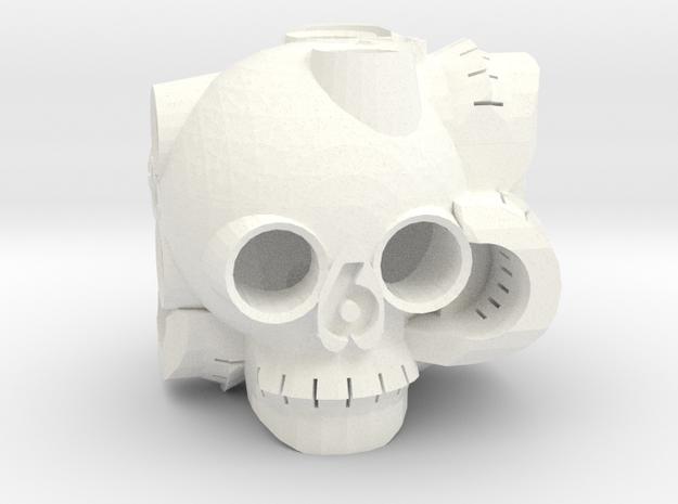 Skull D6 in White Processed Versatile Plastic
