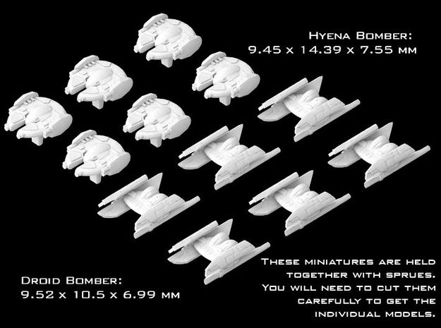 (Armada) 6x Hyena Bomber + 6x Droid Bomber in Smooth Fine Detail Plastic