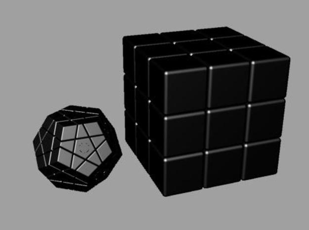 MiniMinx 3d printed MiniMinx next to a normal 3x3