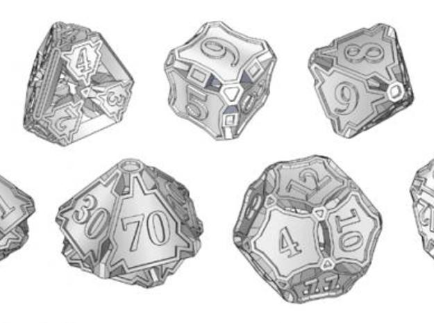 Dice Set with Decader 3d printed A set of seven dice including an extra decader d10 for generating percentile results.