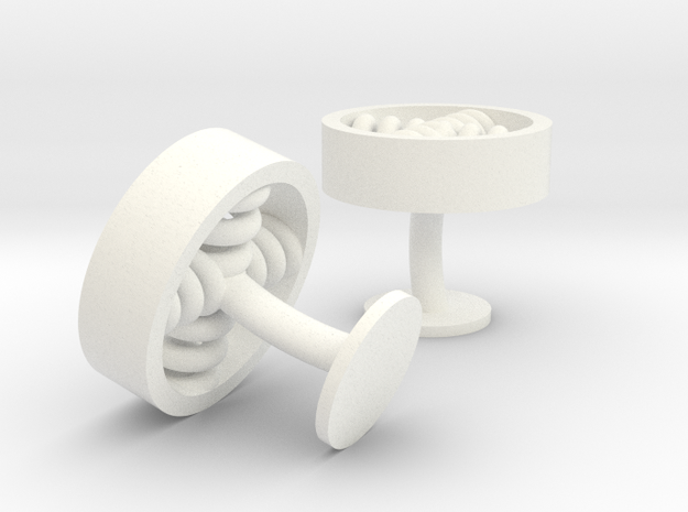 spiral cufflinks in White Strong & Flexible Polished