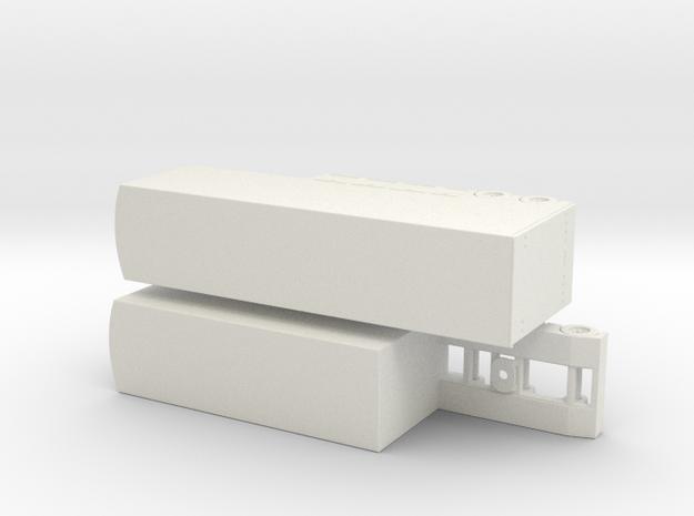 HO 1/87 V8 Racing Car B-train Transporter in White Natural Versatile Plastic