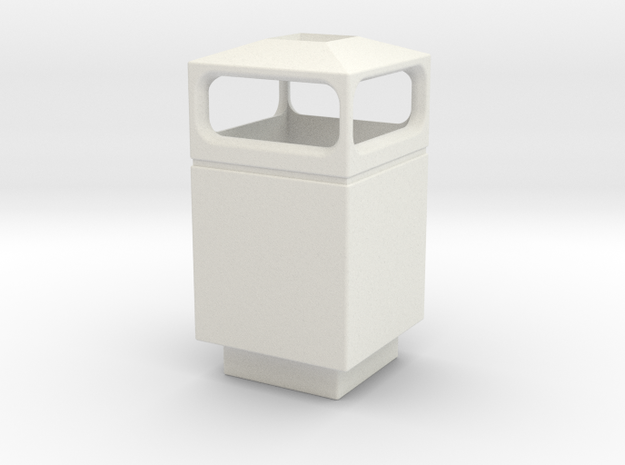 1/35 Trash Can #1 Square Single MSP35-036a in White Natural Versatile Plastic
