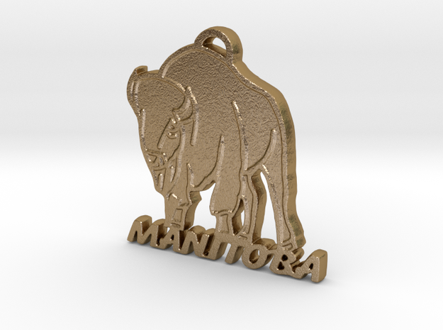 Manitoba Bison in Polished Gold Steel: Medium
