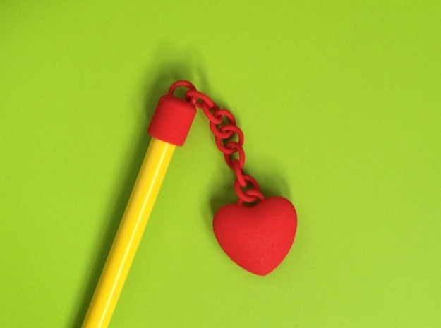 Heart pencil charm in Red Strong & Flexible Polished