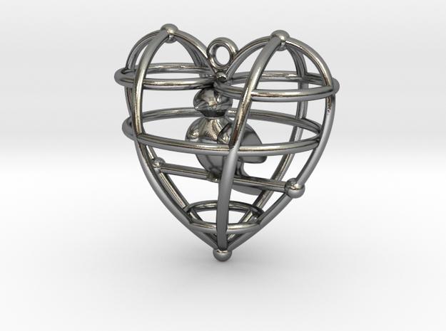 HeartSimpBirdFinal in Polished Silver