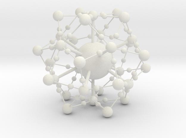 Complex Fractal Molecule in White Natural Versatile Plastic