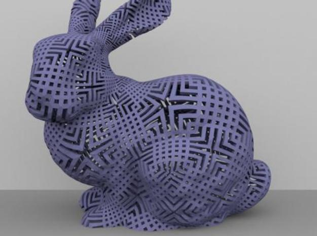 Bunny with Japanese stencil pattern 3d printed SunFlow rendering with Ambient Occlusion.