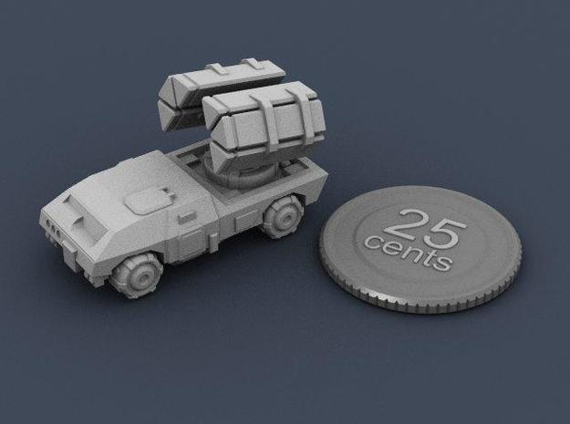 Terran Guided Missile Truck 3d printed Render of the assembled model, with a virtual quarter for scale.