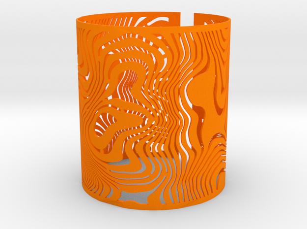 Wide Wavy Openwork Bracelet in Orange Processed Versatile Plastic